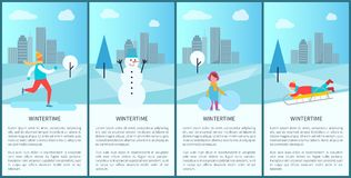 Wintertime Park Set of Posters Vector Illustration. Wintertime park set of posters with people having fun in city park. Vector illustration with ice-skating Royalty Free Stock Photography