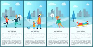 Wintertime People and Text Vector Illustration. Wintertime people and text sample, placards set with skating couple, mom and child walking dog, woman with Stock Photography
