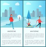 Wintertime Family Running Man Vector Illustration. Wintertime placards consisting of text sample and letterings, family of father and son on sled, running man Stock Photos