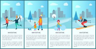 Wintertime Placards and Text Vector Illustration. Wintertime placards and text sample with letterings, skating couple, skiing man, family walking dog and girl Royalty Free Stock Photo