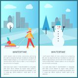 Wintertime Placards with Text Vector Illustration. Wintertime placards set with text and headlines, images of mother with kid and snowman, cityscape behind them Stock Photos
