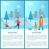 Wintertime Poster Father Carrying Child on Sleigh. Spending time togethe, mother and son walk with pet s on background of skyscrapers vector illustration Stock Photos