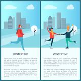 Wintertime Poster Woman Jogging Skating in Park. Wintertime poster woman jogging in winter park, happy couple dancing on skates, man and woman having fun Royalty Free Stock Image