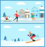 Wintertime Family and Skier Vector Illustration. Wintertime posters collection, family with kid on sled and skier going down slope, clear sky and clouds Royalty Free Stock Photos