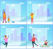 Wintertime Family, Cityscape Vector Illustration. Wintertime posters, family and cityscape, filling form and buildings, clouds and sky, mother and kid walking Stock Photography