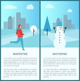 Wintertime Posters Set on Vector Illustration. Wintertime posters set with cityscape and clouds above it, image of man skiing and having fun and snowman with Royalty Free Stock Image