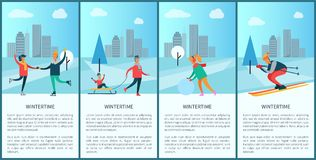 Wintertime Posters with Text Vector Illustration. Wintertime posters with text sample and headlines, set of placards with people skiing and skating, father and Royalty Free Stock Photo