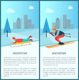 Wintertime Sled and Skier Set Vector Illustration. Wintertime recreation, sled and child lying on it, skier going down slope, pine trees and snowy weather, set Stock Photography