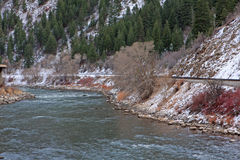 Wintertime river with snow Royalty Free Stock Photo