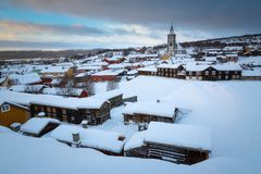 Winter in Roros, norwegian mining town listed by UNESCO royalty free stock photos