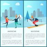 Wintertime Skaters and Skier Vector Illustration. Wintertime set of banners with headline and text sample, skaters and skier, buildings and pine tree, sky and Stock Photography