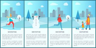 Wintertime Set of Placards on Vector Illustration. Wintertime set of posters representing skiing man, happy snowman, family walking with dog together, text and Royalty Free Stock Photos