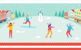 Wintertime and Skiing People Vector Illustration. Wintertime and skiing people, snowman and trees, buildings and snowflakes, boys and girls having fun, poster Stock Photos
