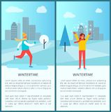 Wintertime Snowy City Park Vector Illustration. Wintertime snowy city park with ice-skating man and happy smiling woman playing with snow. Vector illustration Royalty Free Stock Image