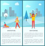 Wintertime Snowy Town Park Vector Illustration. Wintertime snowy town park posters with people sledding and having fun on snow. Vector illustration with happy Royalty Free Stock Photo