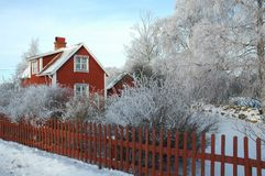 Wintertime in Sweden. Southern Sweden a cold winter morning royalty free stock photography
