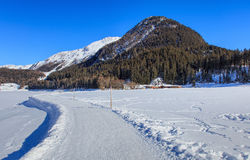 Wintertime vew in Davos, Switzerland. Wintertime view in the town of Davos, Switzerland: walkway along frozen Lake Davos, Seehorn mountain, summits covered by Stock Image
