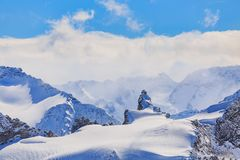 Wintertime view from Mt. Titlis in Switzerland Royalty Free Stock Photos