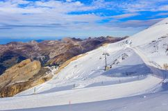 Wintertime view from Mt. Titlis in Switzerland Royalty Free Stock Photo