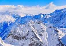 Wintertime view from Mt. Titlis in Switzerland Royalty Free Stock Images