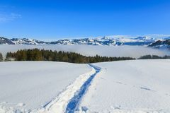 Wintertime view in the Swiss Alps Stock Photography