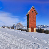 Wintertime view in the village of Stoos, Switzerland Stock Photos