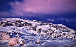 Wintertime village landscape Royalty Free Stock Photos