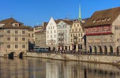 Wintertime widok w Zurich, Szwajcaria Zdjęcia Royalty Free