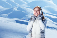 Wintertime woman portrait stock photo