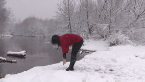 Wintertime Yoga in the Snow stock video footage
