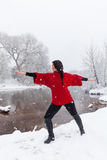 Wintertime Yoga Royalty Free Stock Photo