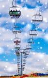Wintertourismus in Osteuropa Moderner Skiaufzug auf einem Hintergrund des blauen Himmels Skiort ` Bukovel-`, Ukraine Lizenzfreies Stockfoto