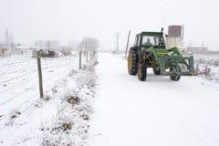 Wintertraktor Stockfotos