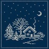 Winterurlaub-Landschaft Weihnachtsstrickjacken-Design Nahtloses KNI Lizenzfreies Stockbild