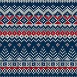 Winterurlaub-nahtloses gestricktes Muster Stockfotografie