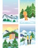 Winterurlaublandschaftsvektorillustration Stockbilder