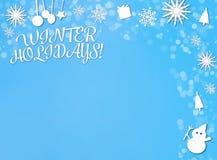 Winterurlaubpapier-Schnitthintergrund auf blauem Weiß lizenzfreie abbildung