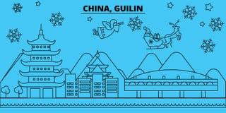 Winterurlaubskyline Chinas, Guilin Frohe Weihnachten, guten Rutsch ins Neue Jahr verzierten Fahne mit Santa Claus China, Guilin vektor abbildung