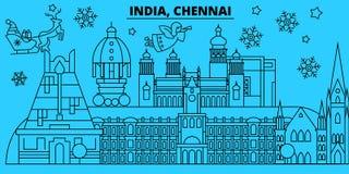 Winterurlaubskyline Indiens, Chennai Frohe Weihnachten, guten Rutsch ins Neue Jahr verzierten Fahne mit Santa Claus Indien, Chenn vektor abbildung