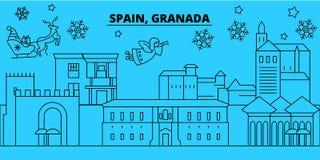 Winterurlaubskyline Spaniens, Granada Frohe Weihnachten, guten Rutsch ins Neue Jahr verzierten Fahne mit Santa Claus Spanien, Gra lizenzfreie abbildung