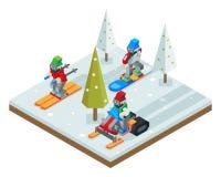 Winterurlaubsortfeiertagsski Snowboardschlitten Design-Vektorillustration des isometrischen Symbolschneehintergrundes Ikone 3d fl Lizenzfreies Stockbild