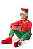 Winterurlaubweihnachtskonzept - Junge in Sankt Lizenzfreies Stockfoto
