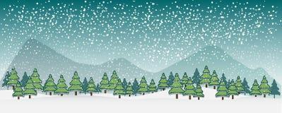 Wintervektorlandschaft mit Schattenbildern von Bäumen und von Bergen Set der lustiger Zeichentrickfilm-Figurfedern und -bleistift vektor abbildung