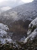 Winterwald in den Bergen der Karpaten Lizenzfreies Stockfoto