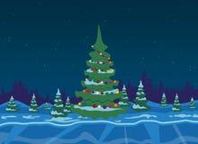 Winterwald mit Weihnachtsbaum Lizenzfreie Stockbilder