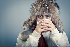 Winterwear male warming up Stock Photo