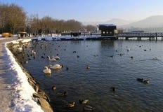 Winterweg durch den See Stockfoto