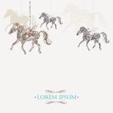 Winterweinlesehintergrund mit dekorativen Pferden Stockbilder