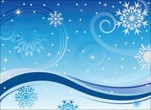 Winterwind und -schneeflocken Stockfotos