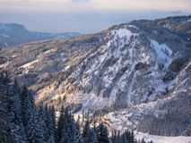 Winterwonderland around Hirschberg in the German Alps. Winterwonderland in the German alps with snow covered and forrested Hirschberg near the mountain village Stock Photos
